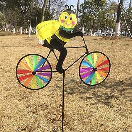 Generic Creative Multicolor viento Spinner Whirligig Animal ciclismo forma gamuza de jardín molino de viento decorativo para jardín decoración LD juguetes A4: Amazon.es: Hogar