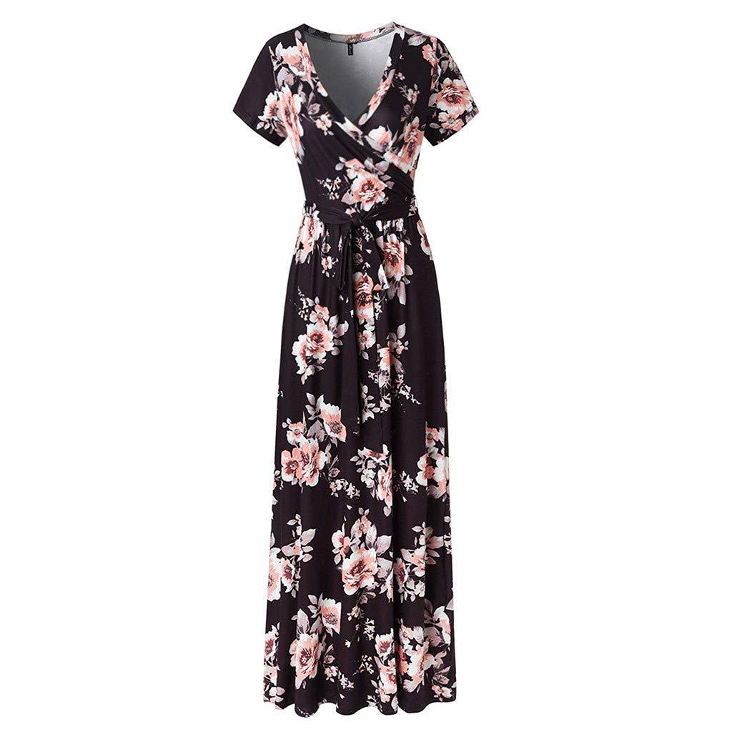 Fanyunhan Women Vintage Short Sleeve V-Neck Dress Flower Print Sundress Sexy Evening Party Maxi Dress with Sashes Black