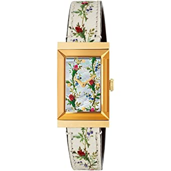 d4204044d2f Image Unavailable. Image not available for. Color  Gucci Floral Mother of Pearl  Dial G Frame Watch YA147407