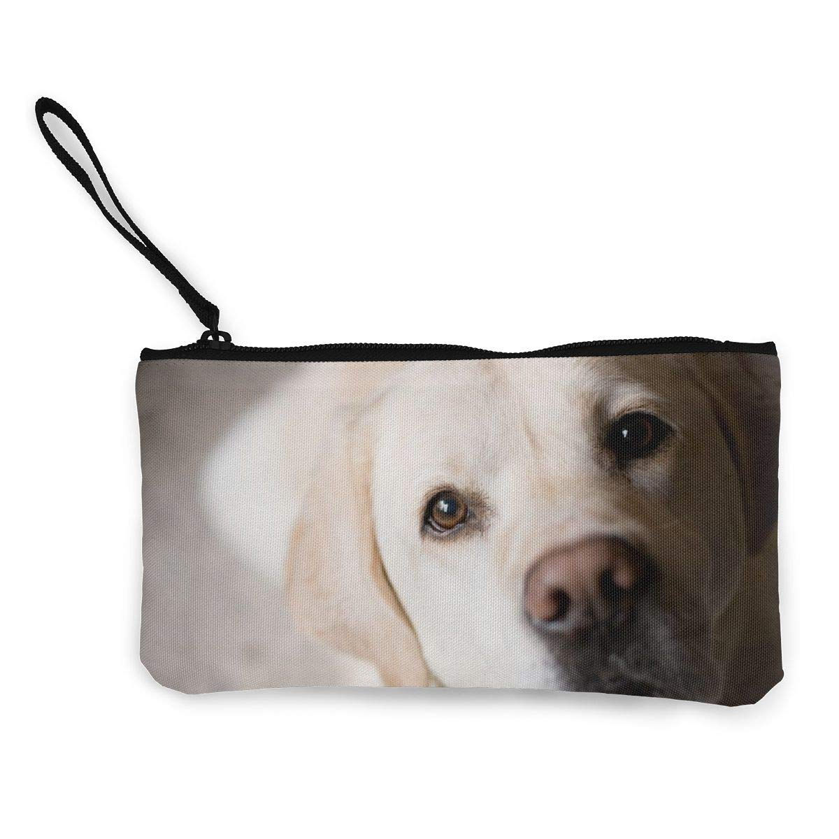 YUANSHAN Cute Labrador Dog Unisex Canvas Coin Purse Change Cash Bag Zipper Small Purse Wallets with Handle
