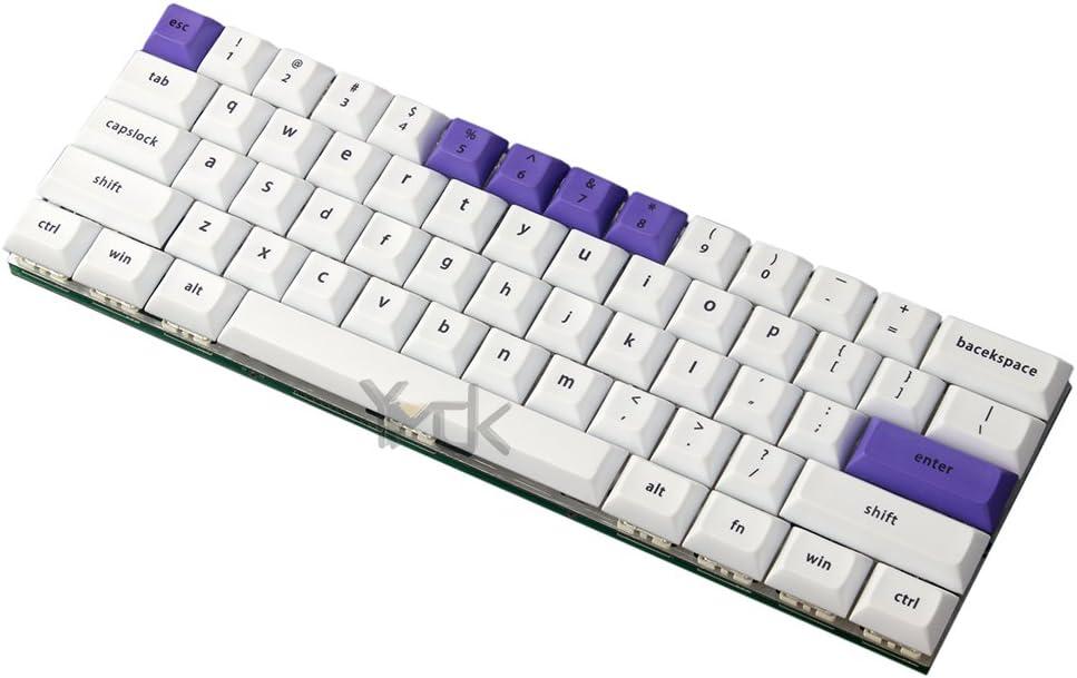 YMDK DSA Profile ANSI 61 Dye-Sub 1.4mm Thick PBT Keyset White Purple Keycap for Cherry MX Switches Mechanical Keyboard Only Keycap