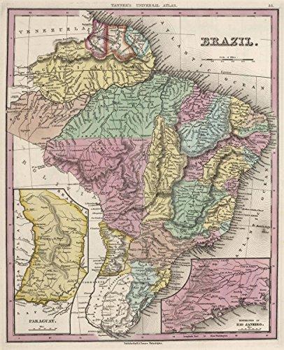 1842 World Atlas | Brazil. (insets) Paraguay. Environs of Rio Janeiro. | Antique Vintage Map Reprint