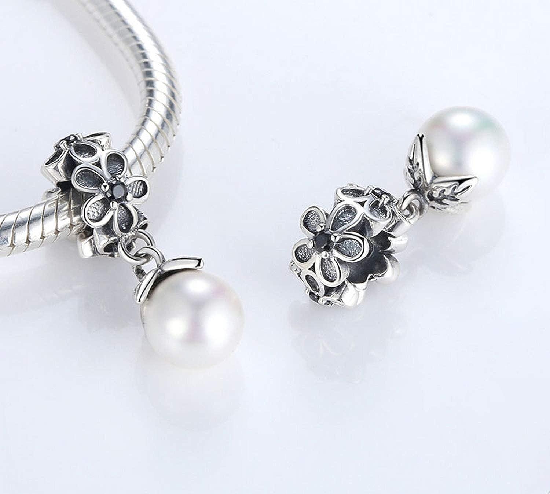 Evereena Silver Beads Bracelet for Girls Flower Line Dangle Pearl Charm Womens Jewelry