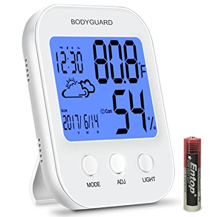 Wonderful Bodyguard Digital Hygrometer Indoor Thermometer,Multifunctional Humidity  Gauge,with Backlight Temperature Humidity Monitor