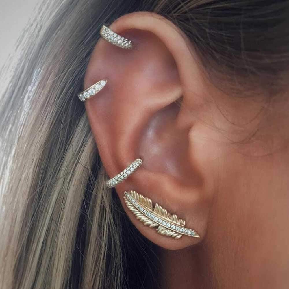 Jovono - Juego de pendientes de tuerca con diseño de hoja de diamantes de imitación para mujeres y niñas