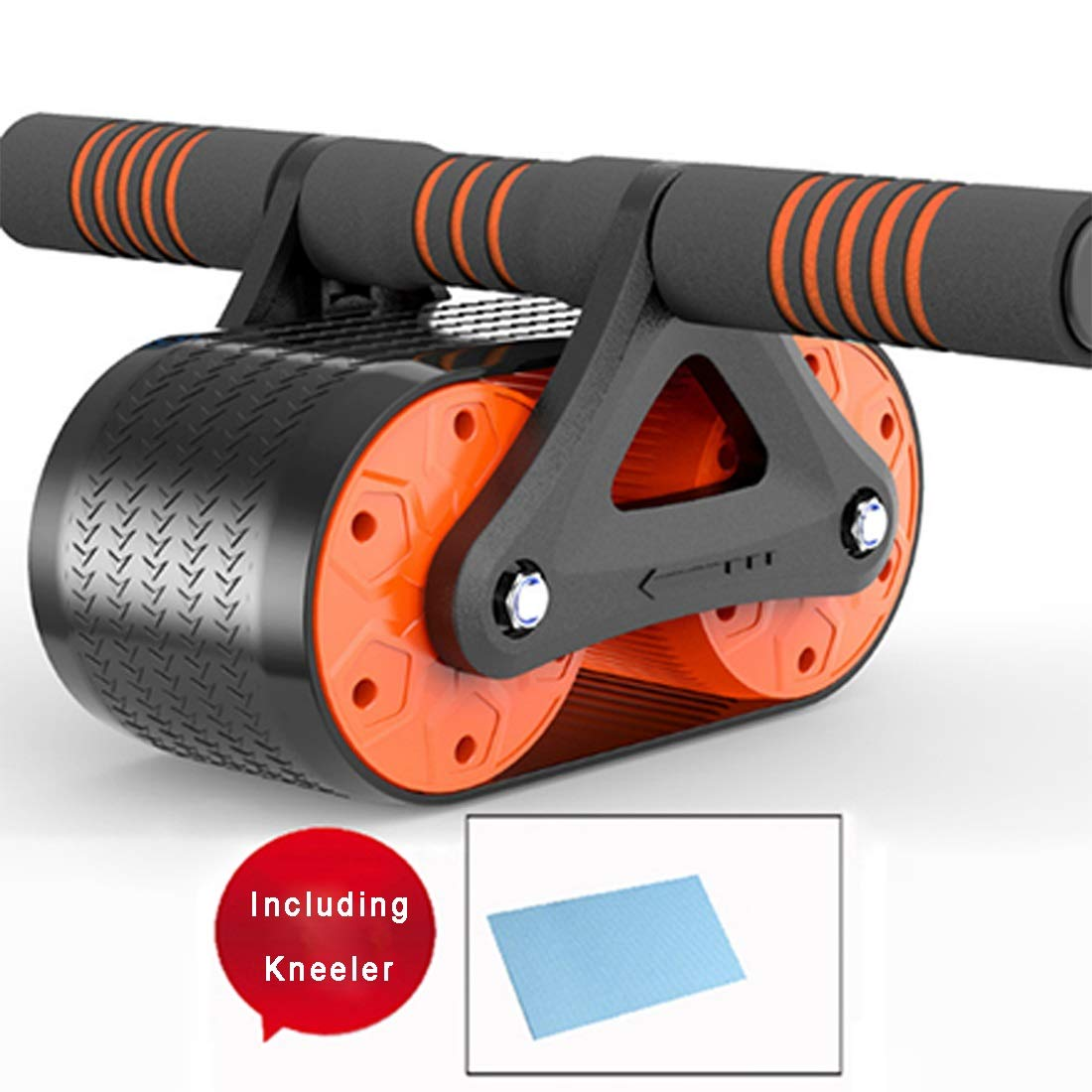 Sugoishop Roller Wheel for Abdominal Exercise Automatic Rebound Assistance and Resistance Springs with Ergonomic Handle Sold with Knee Pad (Color : Orange)