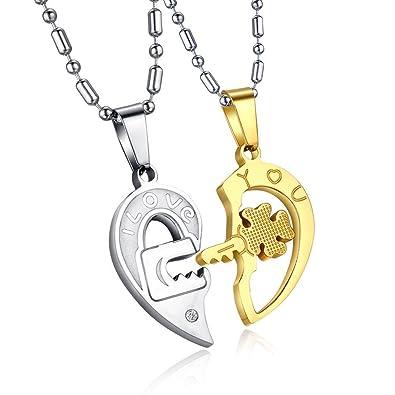 0647471a1533 UM Joyería Mujer Hombres Acero inoxidable Cristal Bloquear Llave  Rompecabezas Corazón Colgante Parejas Collares