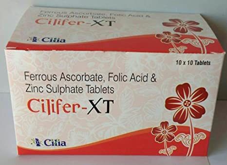 Buy Iron Vitamin C Folic Acid Zinc 100 Tablet Cilifer Xt