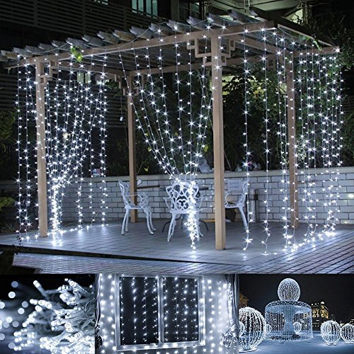 le led window curtain string light 306 led icicle light string 98ft x 98ft 8 modes setting daylight white fairy light string for indoor outdoor wall