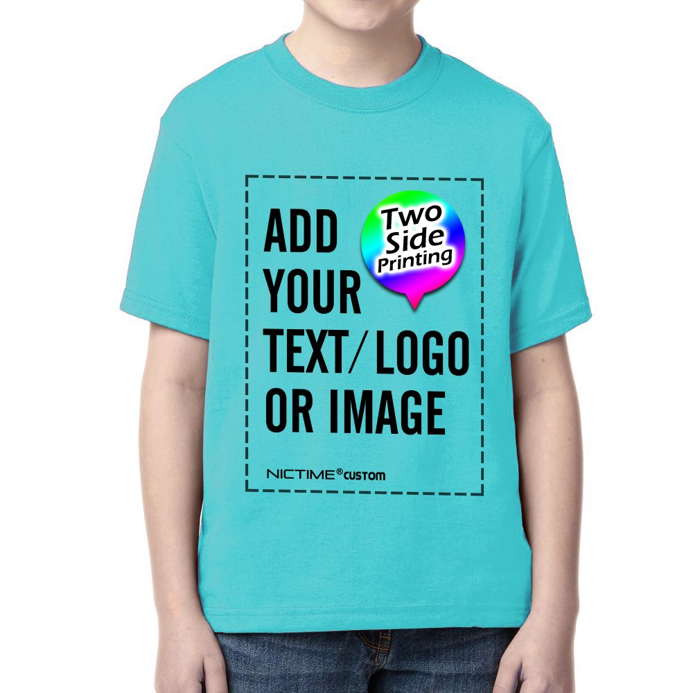 NICTIME Custom T Shirts for Boys Girls Design Your Own Front and Back Kids Tee