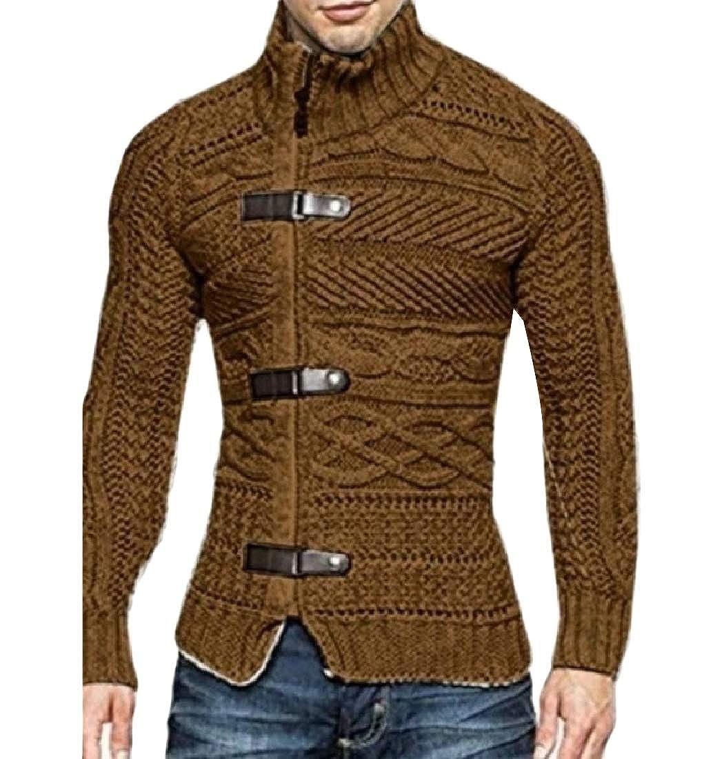 Highisa Mens Leather Cable Knit Turtleneck Knit Jumper Pullover Sweater