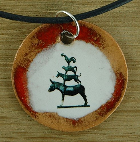 animal fairy tale donkey rooster dog cat Orginal handicraft: ceramic pendant Bremen Town Musician; Grimm art ceramic jewelry handcrafted necklace best gift