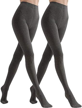 New Womens Opaque Grey 2 Pairs Lady Tights Bodyshaper Stretch Tight Hosiery Work