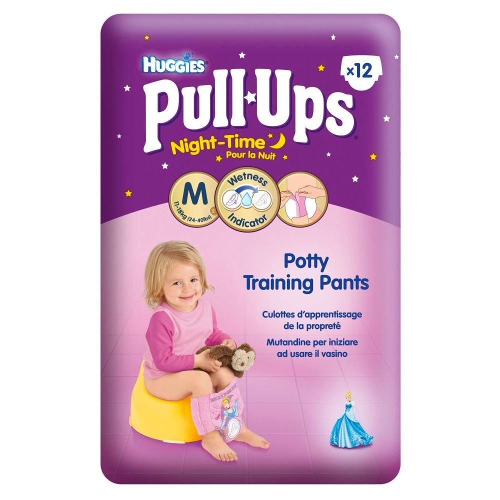 Huggies Pull-Ups Night Time Potty Training Pants for Girls Size 5 Medium 12-18kg (12) Grocery