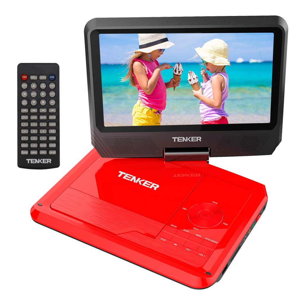 TENKER 9.5'' Portable DVD Player with Swivel Screen, Rechargeable Battery and SD Card Slot & USB Port