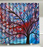 Purple Shower Curtain Wknoon 72 x 72 Inch Shower Curtain Set, Abstract Colored Tree Of Life Print Artwork Vintage Oil Painting Art - Navy Blue Purple Red