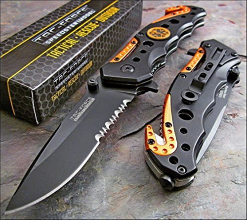 - TAC-FORCE Spring Assisted Opening EMT EMS ORANGE Rescue Folding Pocket Knife Model: