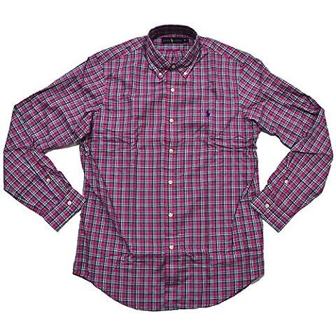 Polo Ralph Lauren Plaid Oxford Sport Shirt (Large, Magenta/Kelly Green) (Magenta Green)
