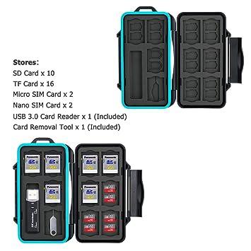 JJC Estuche Impermeable para tarjetas de memorias: 16 x tarjetas Micro SD SDHC SDXC + 10 x tarjetas SD SDHC SDXC con USB 3.0 Lector Tarjetas y ...