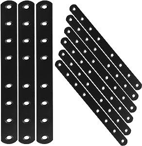 "12PCS Mending Plates, 10""Heavy Duty Flat Straight Brackets, Black Metal Mending Plate for Repairing Wood Furniture Dresser Shelf Bed Table, Fixing Furniture Fastener Hardware"