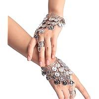 TININNA Belly Dance Triangle Bracelet Coin Bracelet Gypsy Jewelry Hand Decoration Wrist Bangle Ring