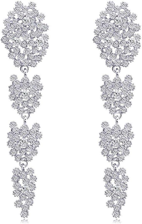 Cremación Memorial Preciosa flor de cristal cuelga los pendientes largos Encanto de piedras preciosas Vestido de fiesta de bodas Decoración de joyería for mujeres Chica, Nombre de color: Plata Cremati