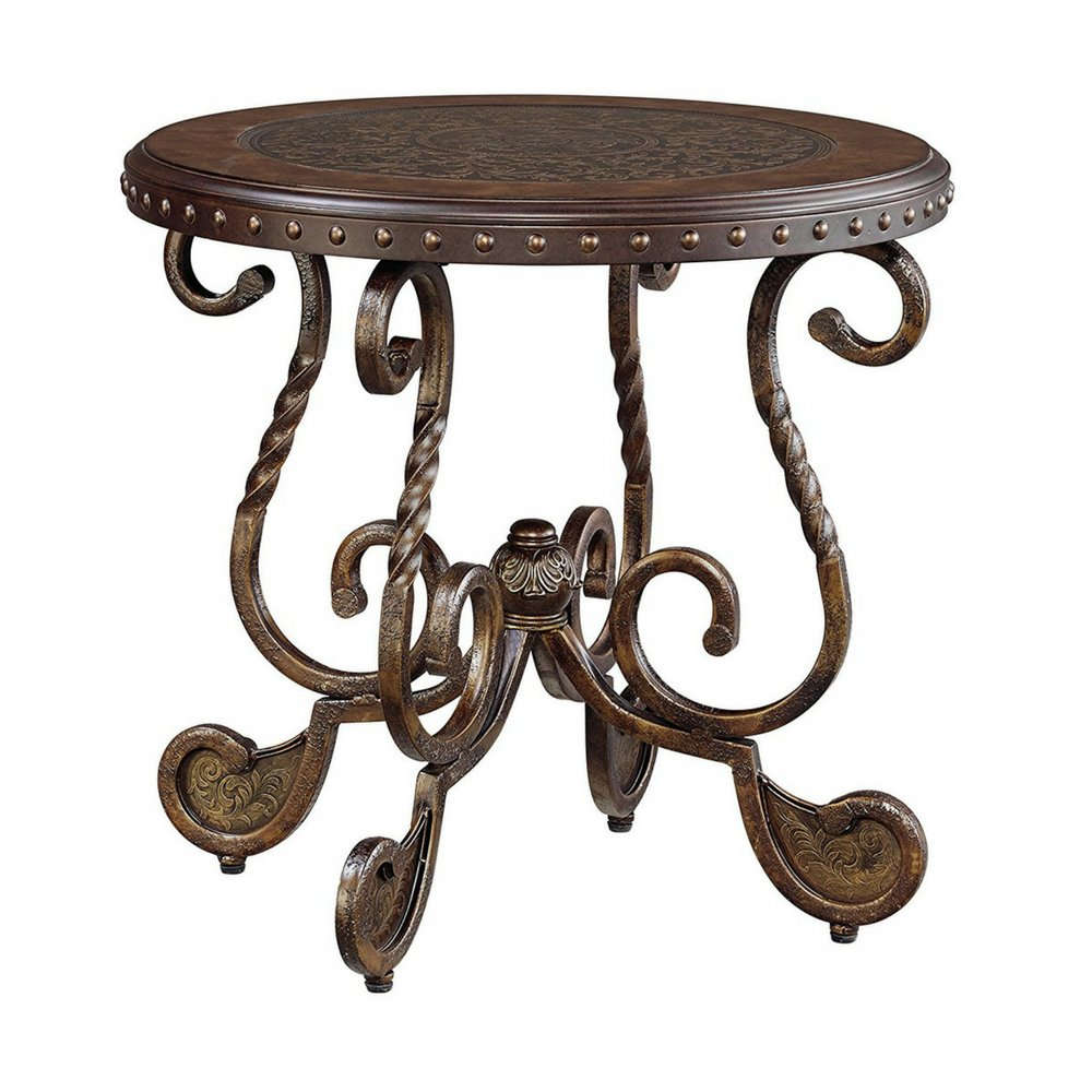Round end table rustic distressed brown antique accent table wood and metal living room furniture for small spaces hand painted grand traditional style