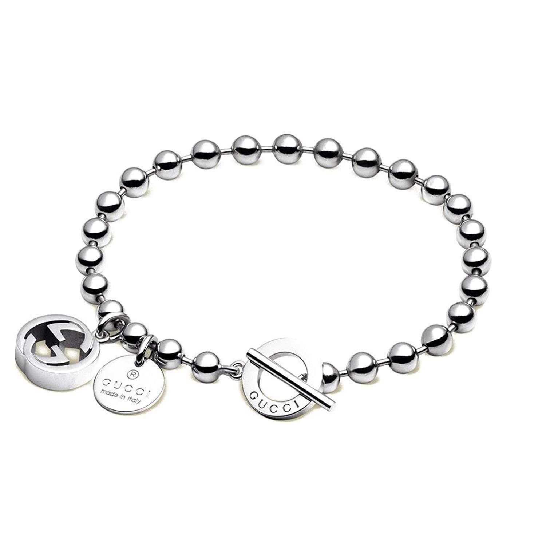 Gucci Women's Boule Bracelet w/Interlocking G Charm Silver 18 cm (7 in)