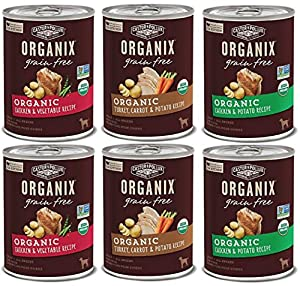 Organix Grain Free Canned Dog Food 3 Flavor Variety Bundle: (2) Organic Chicken-Vegetable Recipe, (2) Organic Turkey-Carrot-Potato Recipe, (2) Organic Chicken-Potato Recipe, 12.7Oz Each (6 Cans Total)
