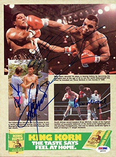 Mike Tyson & Others Authentic Autographed Signed Magazine Page Photo #Q90536 PSA/DNA Certified Autographed Boxing Magazines