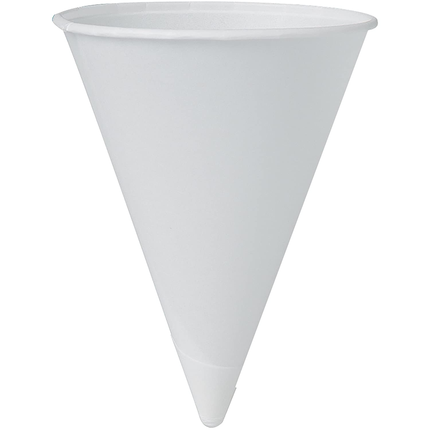 SOLO 4R-2050 Bare Eco-Forward Treated Paper Cone Water Cup, Rolled Rim, 4 oz. Capacity, 2.7 x 3.3, White (Case of 5,000) 2.7 x 3.3