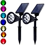 Solar Powered Spotlights 7 Color LED Landscape Lights Solar lights Outdoor 2 in 1 Adjustable Auto-on/off Waterproof Security Wall Lighting for Garden, Patio, Driveway,Yard, (Pack of 2)
