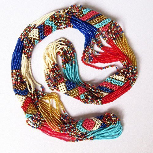 African Zulu beaded long necklace - Gold/pink/red/blue - Gift for her ()
