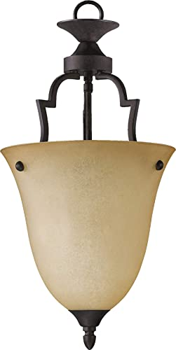 Quorum 816-44 Traditional One Light Pendant from Coventry Collection in Bronze Dark Finish, Toasted Sienna