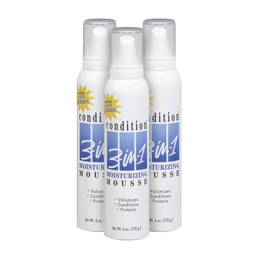 Condition 3-in-1 Moisturizing Hair Mousse, 6 Ounce (Pack of 3)