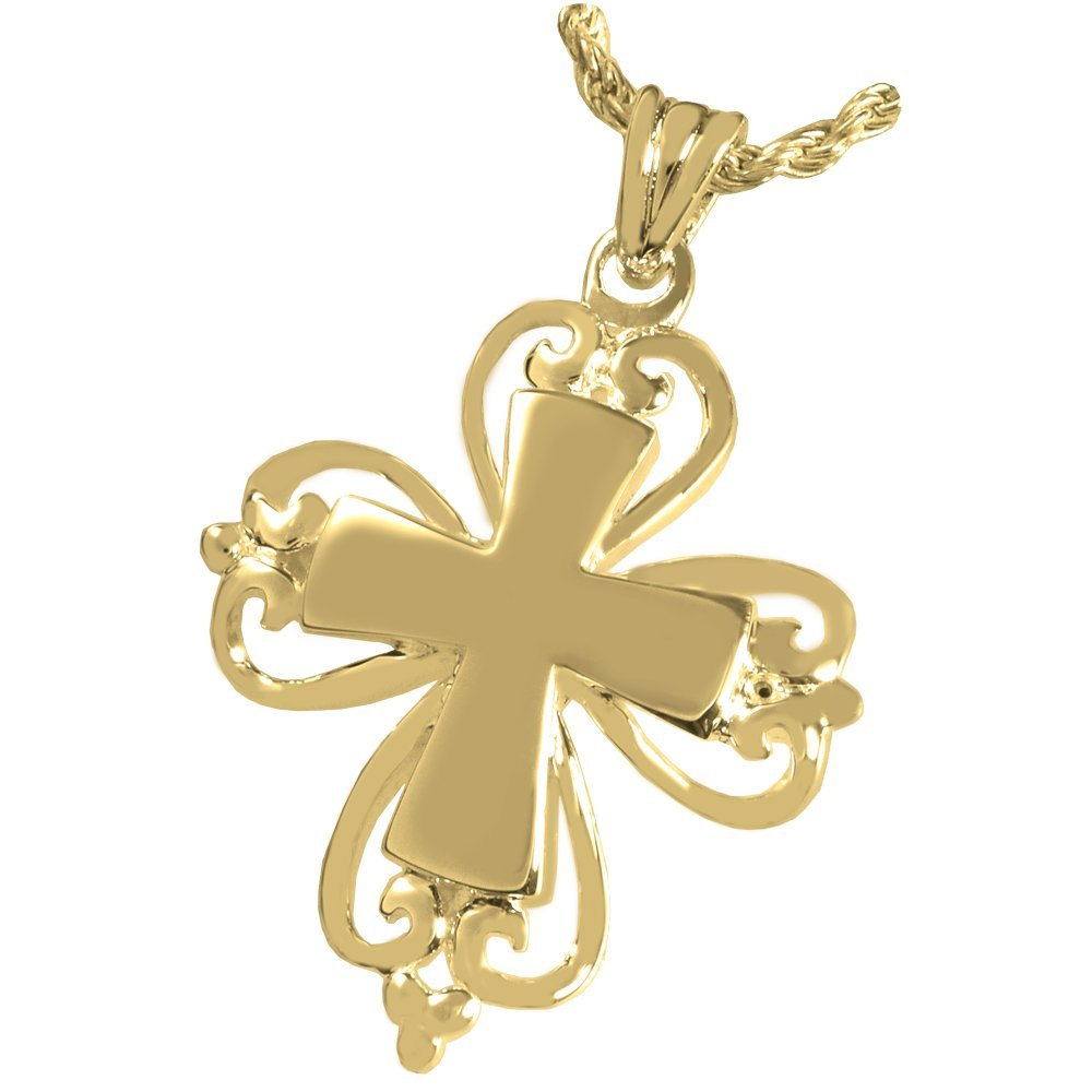 Memorial Gallery MG-3120gp Romantic Cross 14K Gold/Sterling Silver Plating Cremation Pet Jewelry