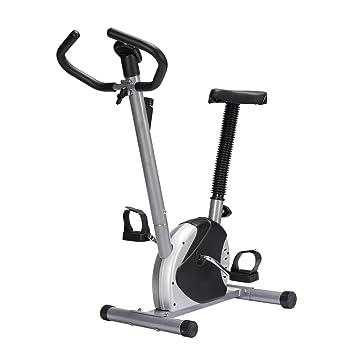 Bicicleta Estatica de Spinning Fitness Altura Ajustable Pantalla Peso MAX 100kg (Negro)