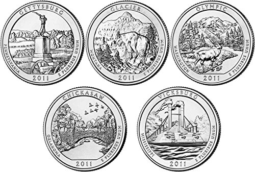 2011 D BU National Parks Quarters – 5 coin Set Uncirculated