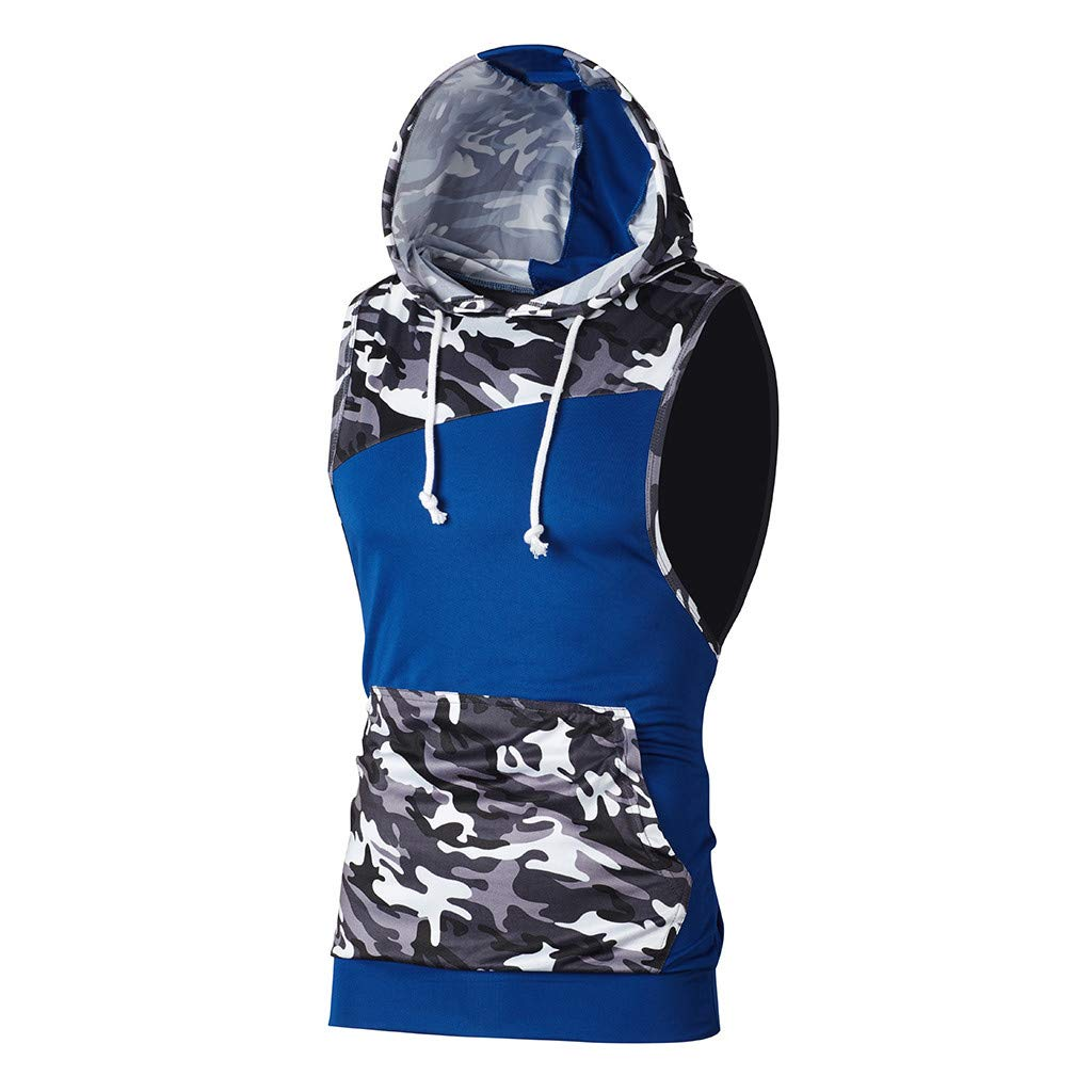 Sleeveless Hoodie for Men丨Summer New Upgrade Camouflage Patchwork T Shirt Tank丨Mens Casual Hooded Tank Tops Plus Size(Blue,M)