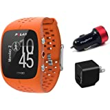 Polar M430 (Orange) Running Watch POWER Bundle | Includes Running Watch, PlayBetter USB Car/Wall Charging Adapters | Advanced GPS Running Watch/Activity Tracker with Optical Wrist-HR