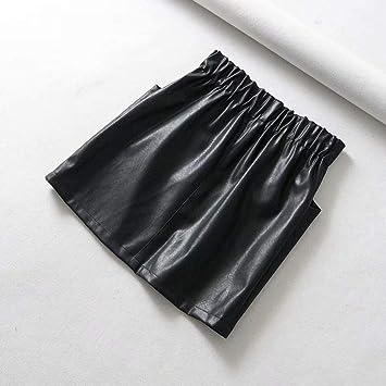 HEHEAB Falda,La Mujer Negra Bolsillo Doble Cintura Elástica PU ...