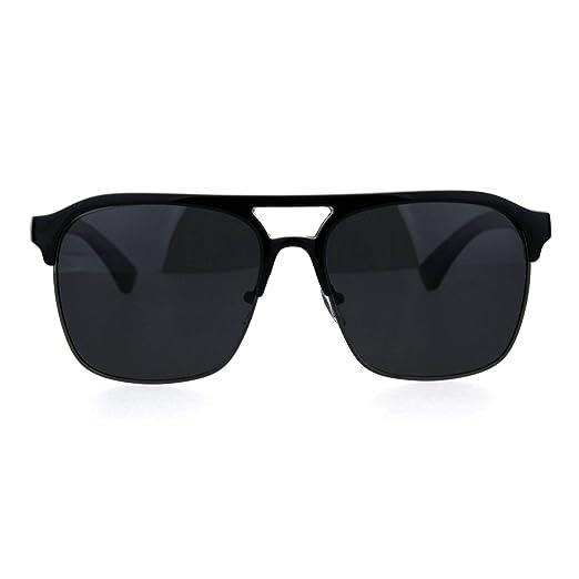 96dce6b48e6 Mens Polarized Mobster Racer Half Rim Flat Top Mafia Sunglasses Black  Gunmetal Black