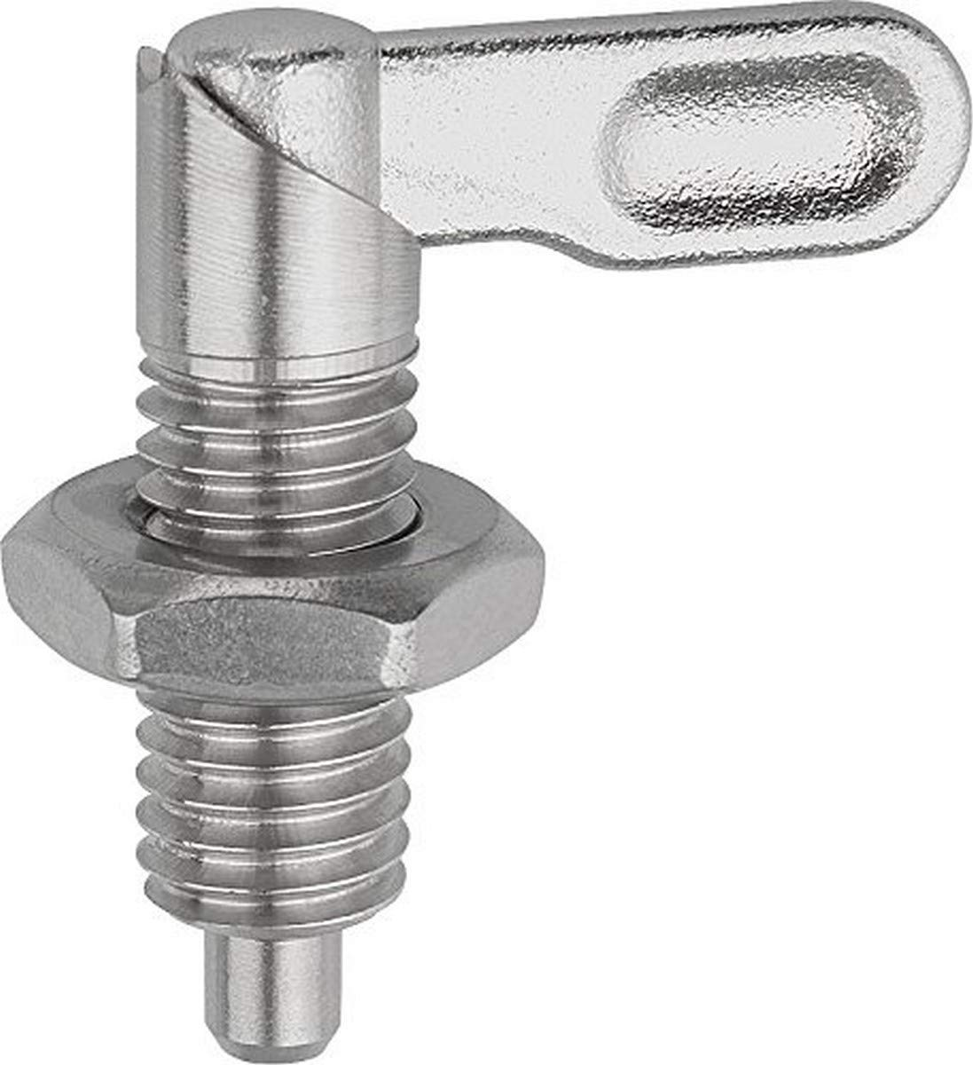 KIPP 03099-10506A6 STAINLESS STEEL CAM ACTION INDEXING PLUNGER STYLE B INCH NATURAL FINISH 6 MM LOCKING PIN DIAMETER 5   8-11 THREAD