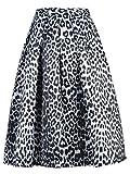 Choies White Leopard Print Midi Skirt