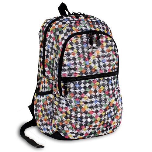J World New York Mesh Backpack, Checkers, One Size