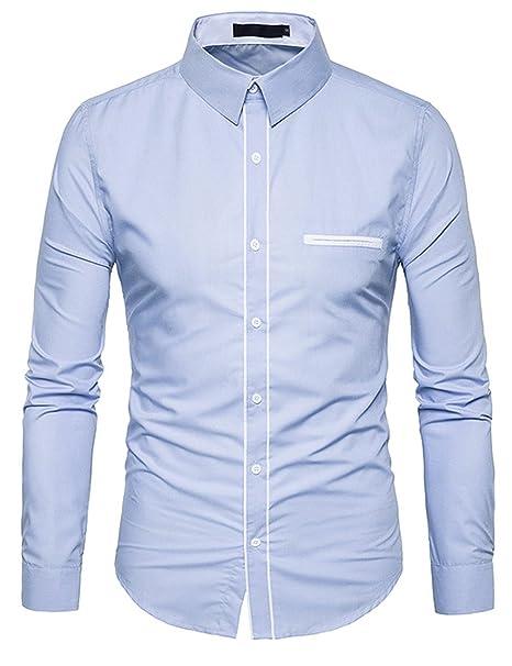 Glestore Camisetas Hombre Manga Larga Casual Slim Fit con Solapa Azul S