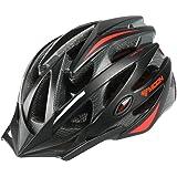 Uzexon Casco de ciclismo bicicleta Cascos multiuso montaña Certificación CE 55-61CM negro/rojo