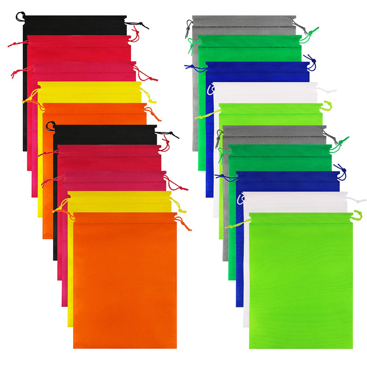 Colorful Storage Organizer Pouch for Men and Women Weoxpr 20 Pieces Non-Woven Travel Shoe Bags With Rope 15.7 x 11.8 inch Large Drawstring Shoes Storage Bags