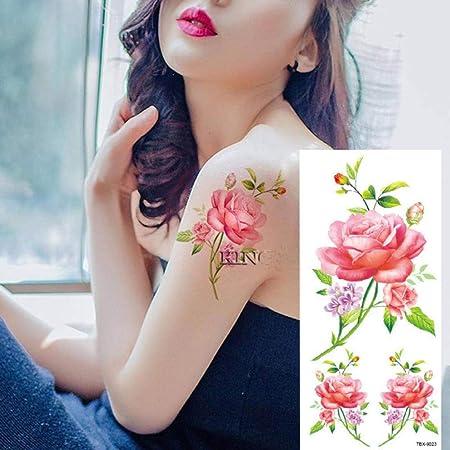 tzxdbh 2 Unids-Tattoo Sticker 25 Rosa Flor Rosa Mariposa Brazo ...