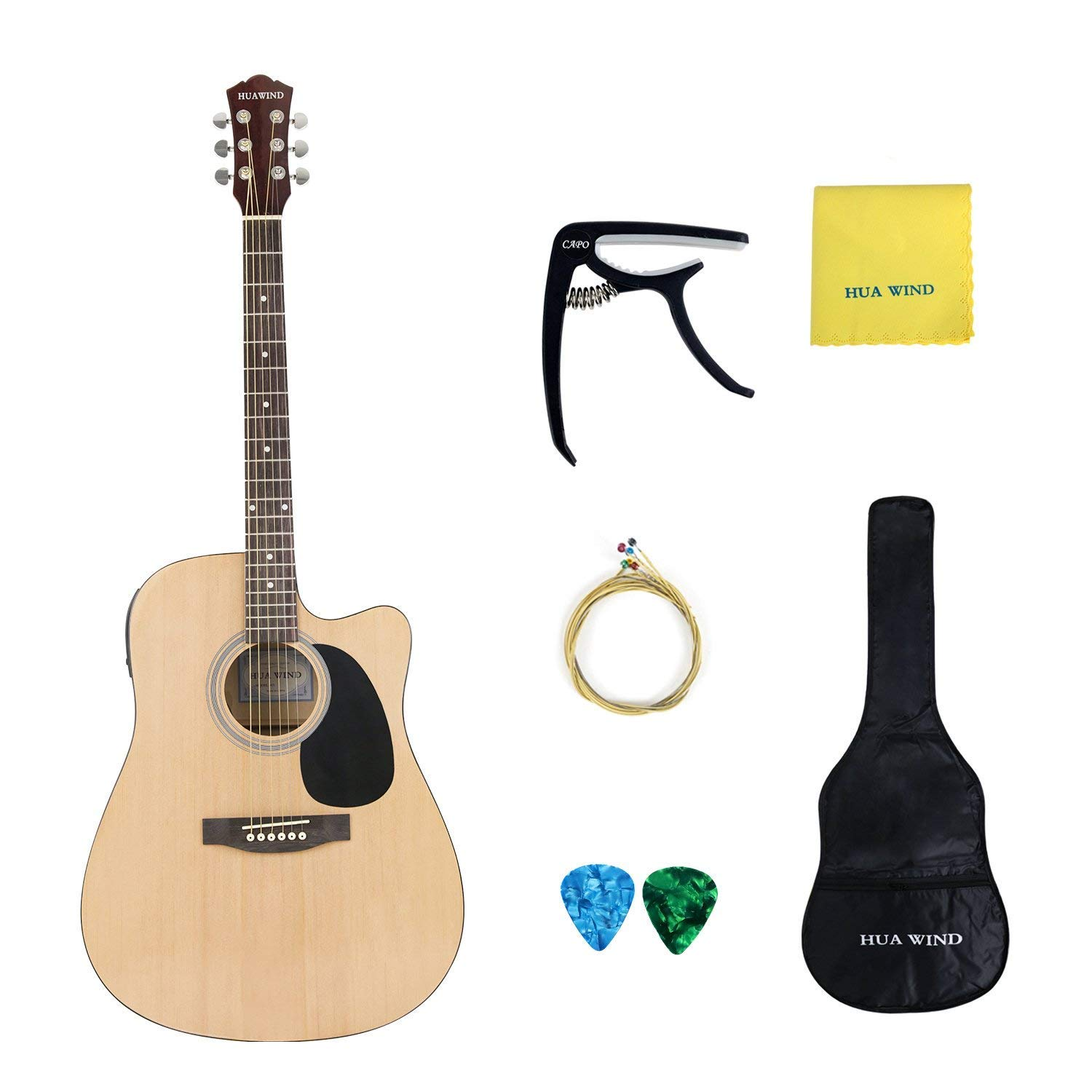 Acoustic Electric Guitar 41 inch Full Size Cutaway 5 Band EQ with Gig Bag, Capo, Strings, Picks and Polishing Cloth (41inch Acoustic Electric Guitar +5EQ)